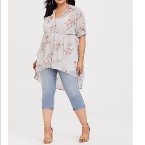 Torrid Chiffon Floral Button Down Tunic